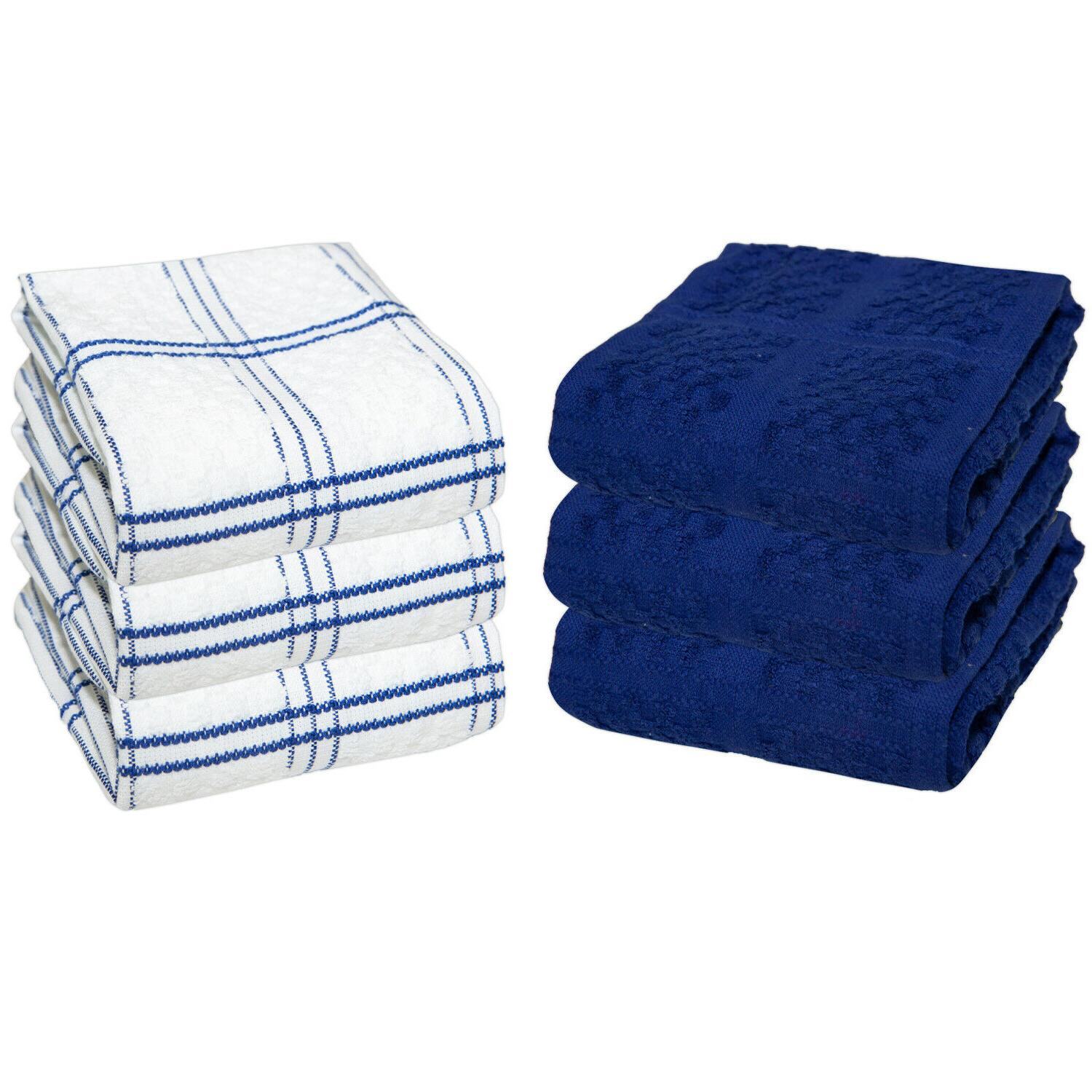 6 pack of kitchen tea towels striped
