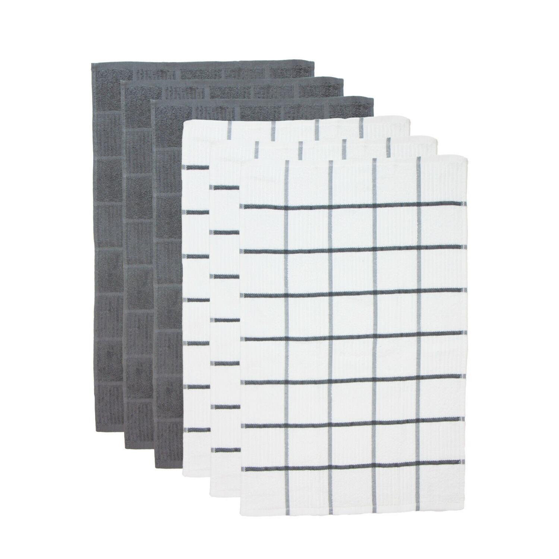 6 of Tea Towels - Windowpane Pattern Cotton