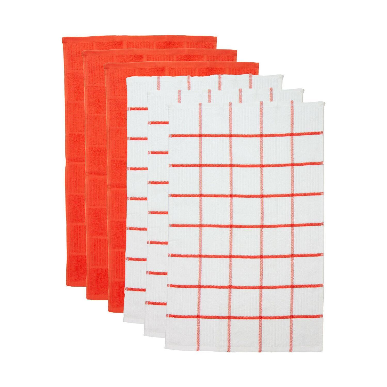 6 Pack Tea Towels - Pattern - 15 25 - 100%