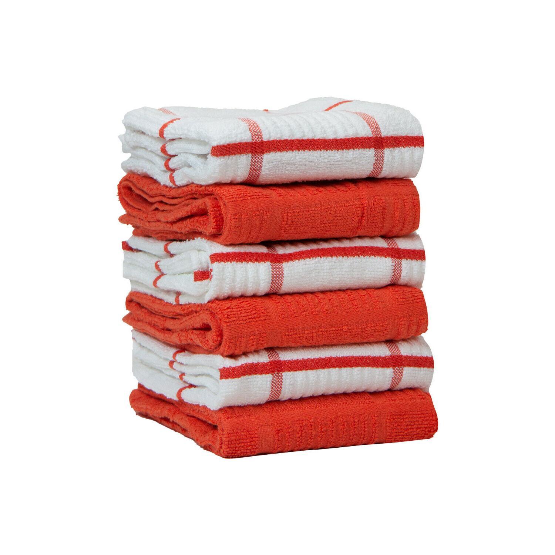 6 Kitchen Tea Towels - Windowpane Pattern - 15 25 - Cotton