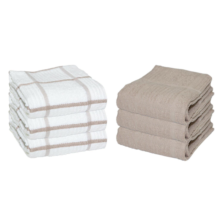 6 pack of kitchen tea towels windowpane