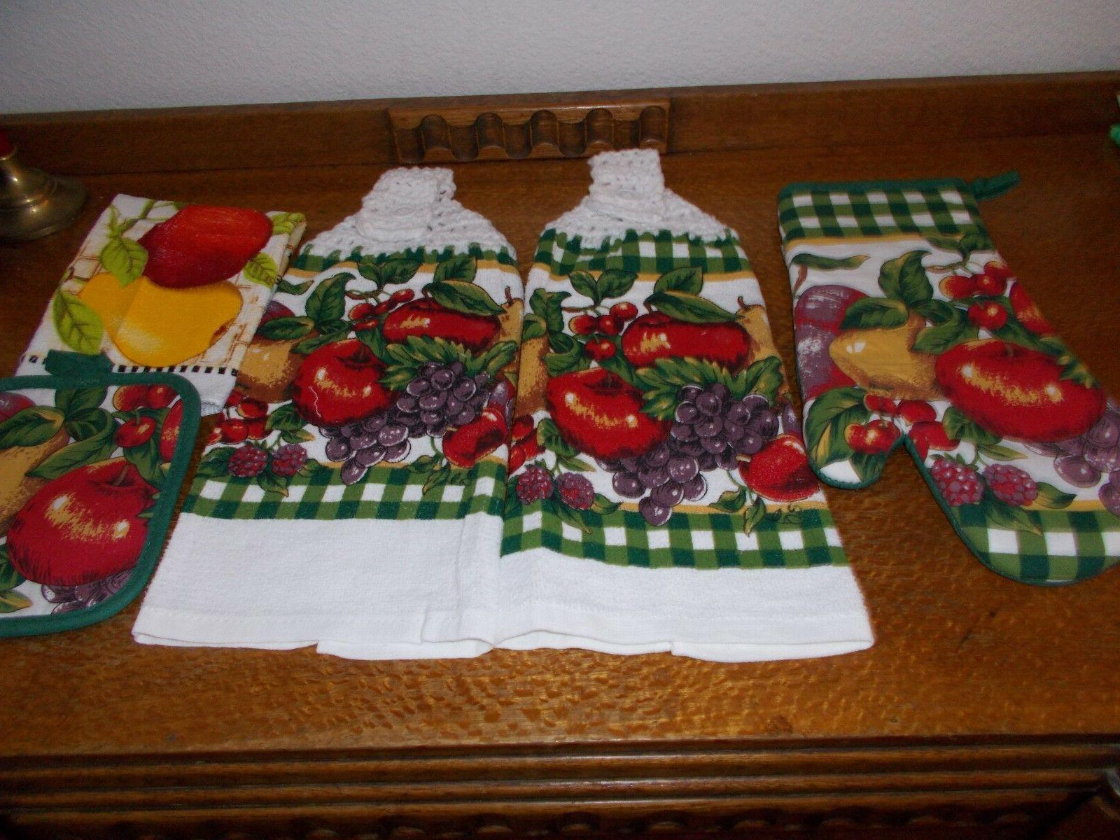 5 pc-HANGING KITCHEN TOWEL SET, CROCHET TOPS Red & Yellow ap