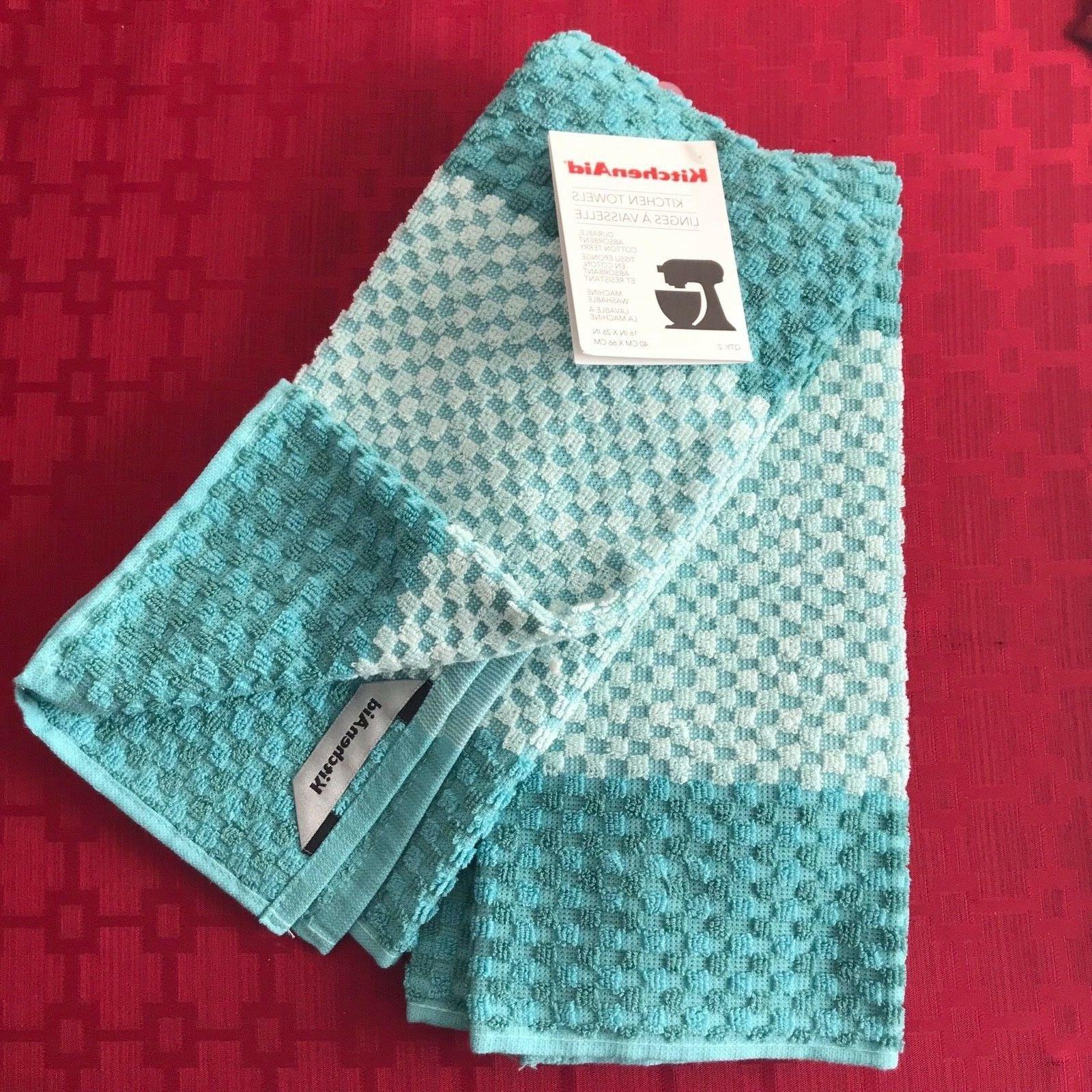 AQUA KitchenAid KITCHEN TOWELS 2 PACK DURABLE ABSORBENT COTT