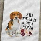 Beagle Dog Kitchen Waffle Weave Towel