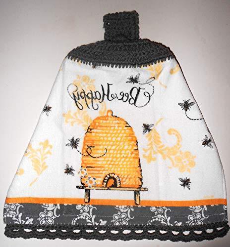 Bee Crochet Top Hanging Kitchen Towel, Bee Hive with Decorat