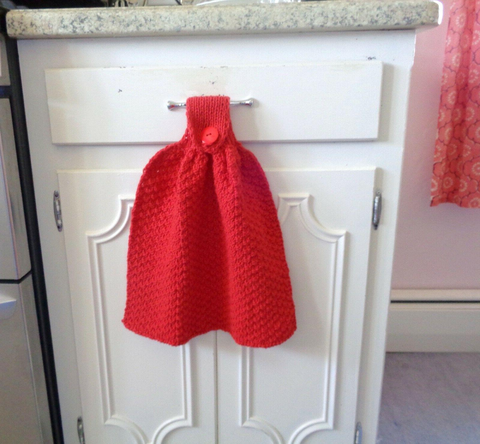 Bright Red Hanging Dishtowels Decorative Kitchen Hand Towel