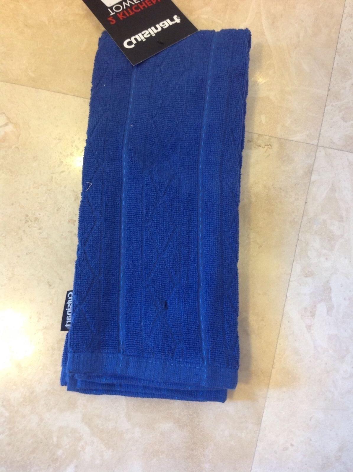 CUISINART 2 PACK KITCHEN TOWELS ROYAL BLUE DIAMOND 100% COTT