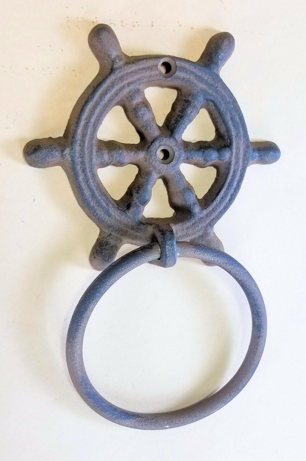 "Cast Iron Wheel Towel 4"" Helm Nautical"