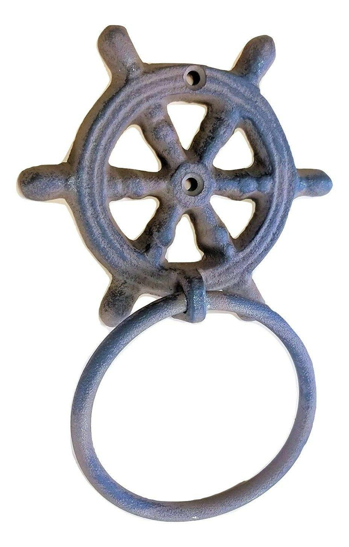 "Cast Iron Ships Wheel Towel Ring 4"" Helm Nautical Decor Bath"
