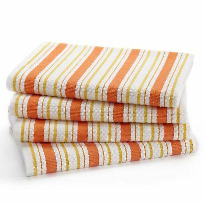 Cotton Craft - 4 Pack - Basket Weave Kitchen Towels - Coral