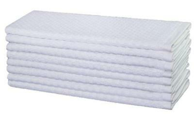 Cotton Craft - 8 Pack - Euro Cafe Waffle Weave Terry Kitchen