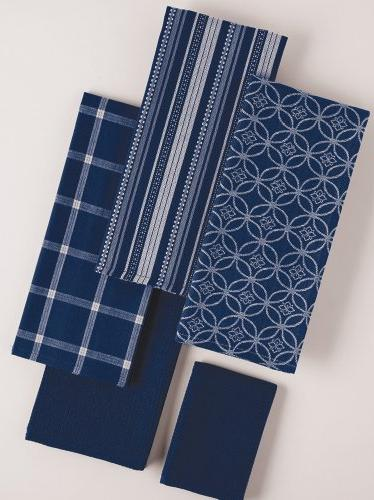 """DII Cotton Oversized Kitchen Dish 28"""" and x 13"""", Set Drying Dishtowels for Everyday Cooking Baking-Nautical Blue"""