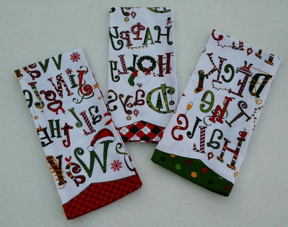 DII Design Import Set of 3 Christmas Kitchen Towels Cheery S