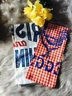 DII FLOUR SACK KITCHEN TOWELS Set 2 Chicken Rooster Red Chec