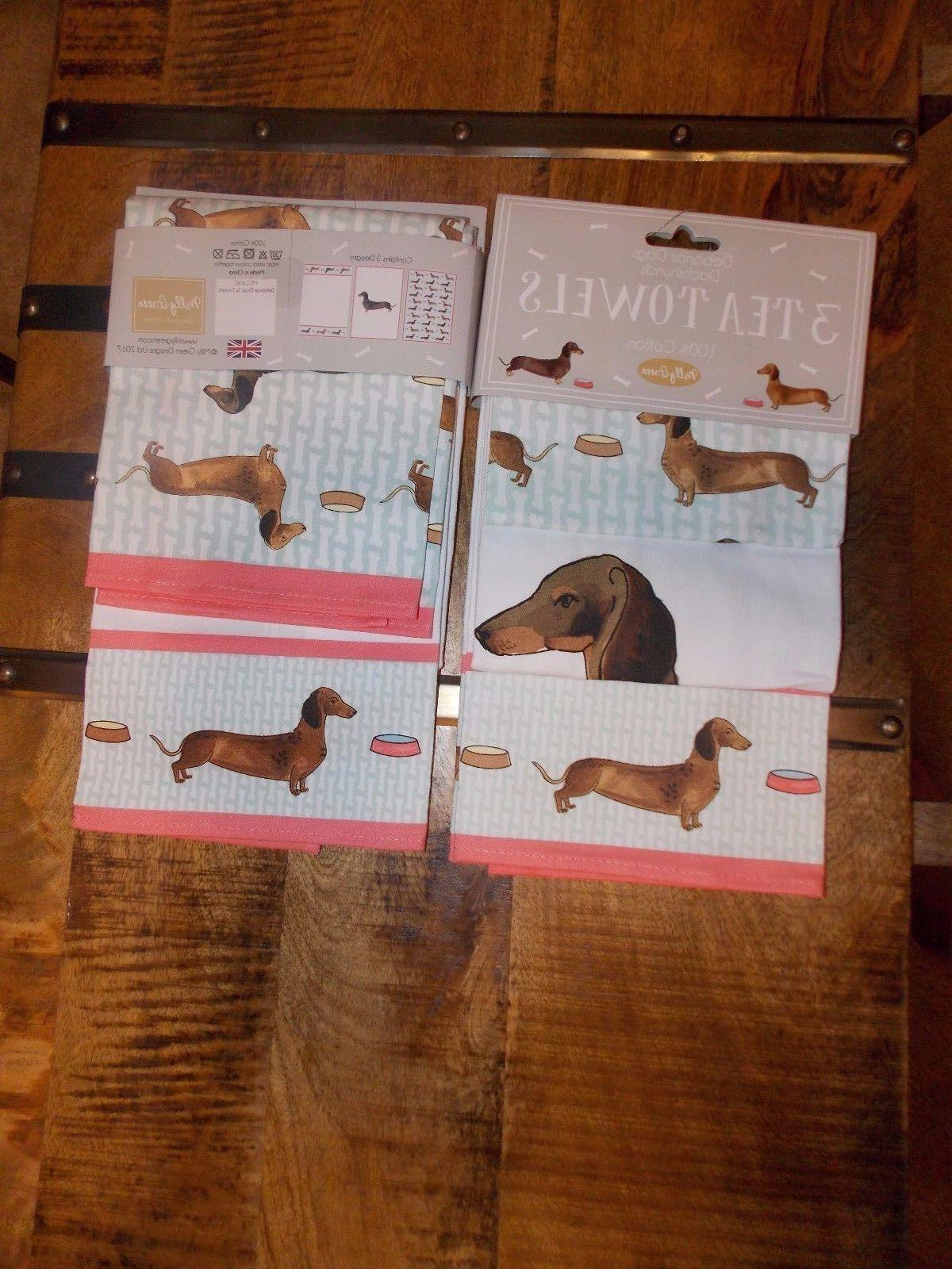 Dachshund Wiener Dog 3 Tea Kitchen Towels 3 DESIGNS - NEW Mi
