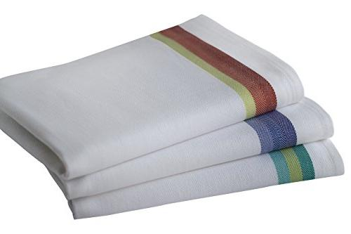 "Harringdons Set 12-Tea 100% Dish Cloths 28""x20"" Soft Absorbent. White with Green 4 no Substitute for Quality"