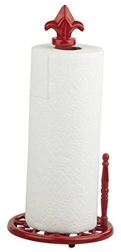 Home Basics Cast Iron Fleur De Lis Paper Towel Holder, Red