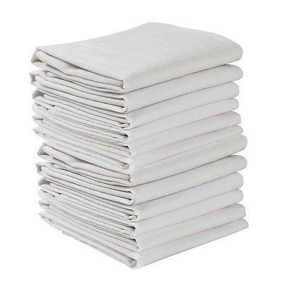 KAF Home Set of 12 Flour Sack White Kitchen Towels, 100-Perc