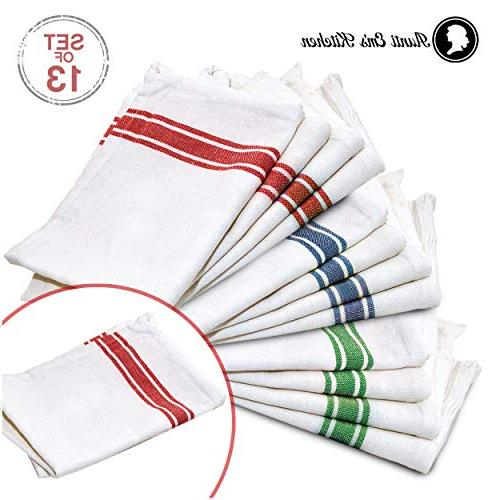 Kitchen Towels Decor Super Absorbent Natural Cotton Towels White Red, Green and 13-Pack
