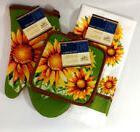 Kitchen Towel Oven Mitt Potholders Set of 4 Sunflowers Yello