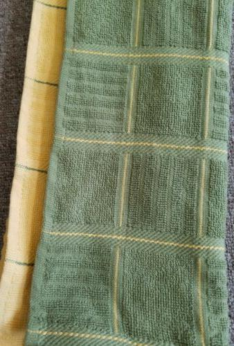 KitchenAid pack kitchen towels green & and grid pattern