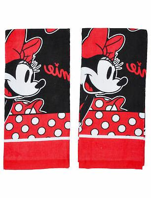 Minnie Mouse Kitchen Dish Towels 2-Piece Set Red Black
