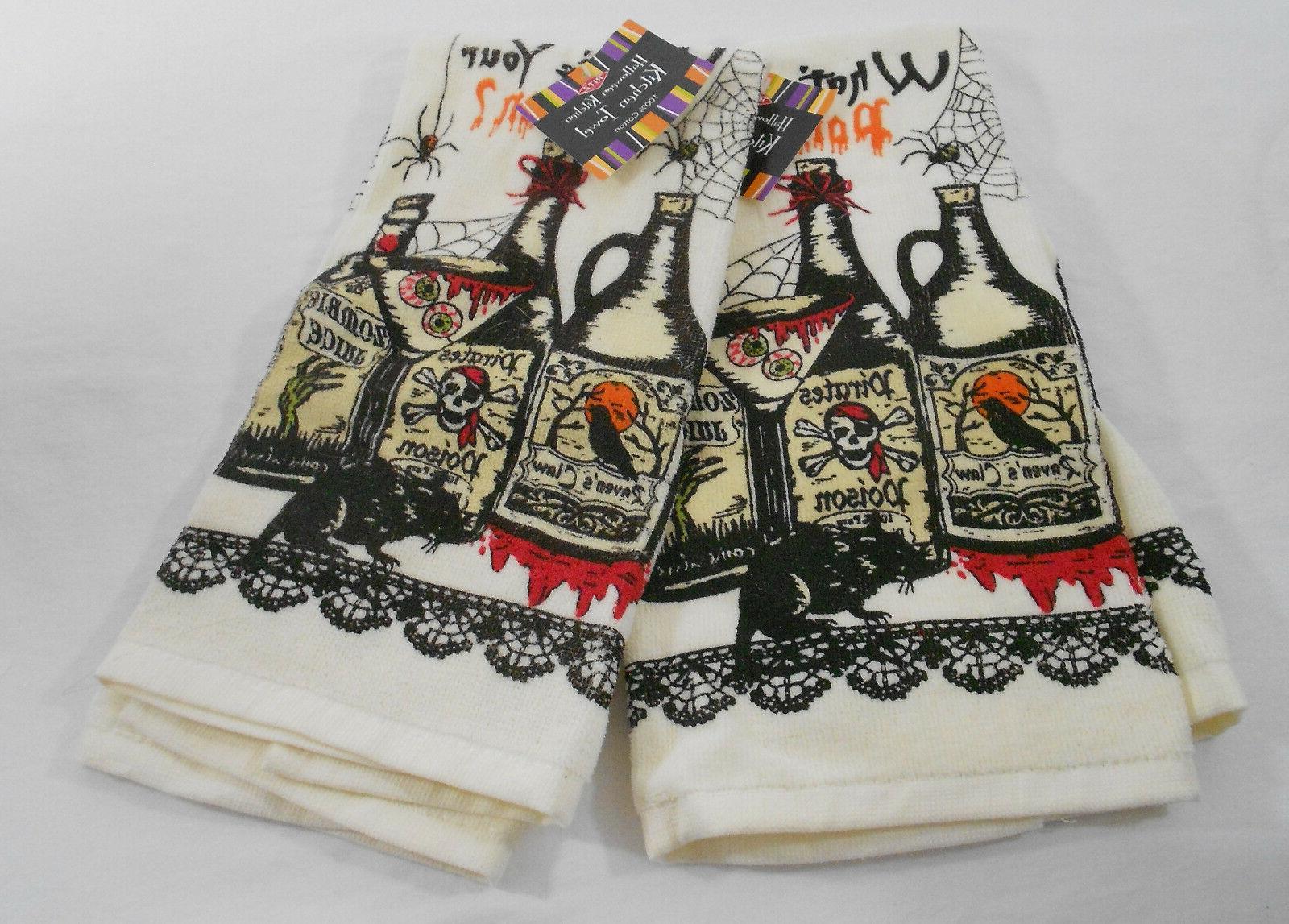 Ritz Halloween Kitchen Dish Towels 100% Cotton Set of 2 What