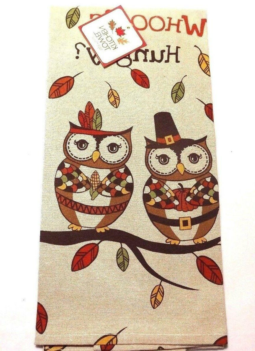 Ritz Kitchen Chambray Tea Towel Owl Whooo's Hungry Autumn Th