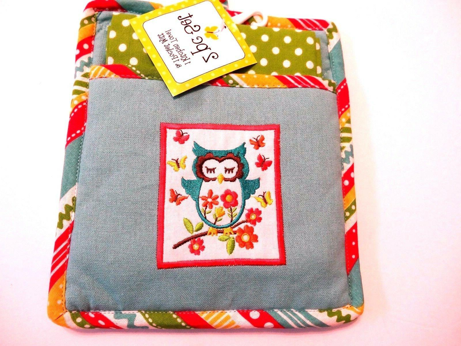 ritz owl on branch kitchen towel pocket mitt