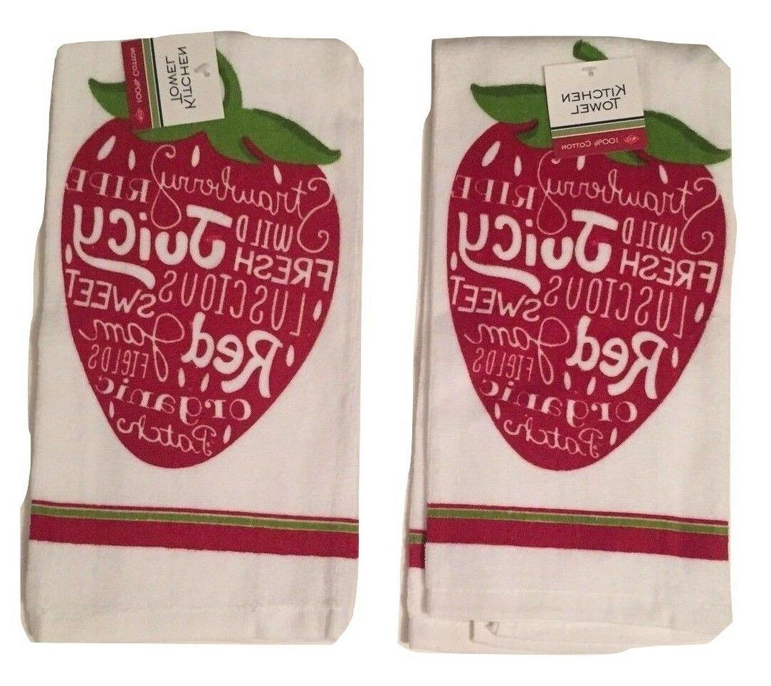 Ritz Red Juicy Strawberries kitchen dish towels Set of 2