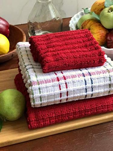 """Ritz Combed Cotton, Highly Absorbent, Oversized, Kitchen Set, x 18"""", 2-Pack, Solid Paprika"""