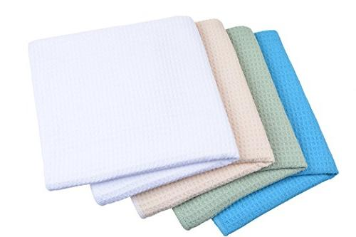 SINLAND Dish Towels Waffle Weave Colors 16Inchx24Inch