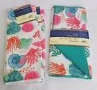 Set of 2 Kitchen Towels & Dish Drying Mat Beach House Coasta