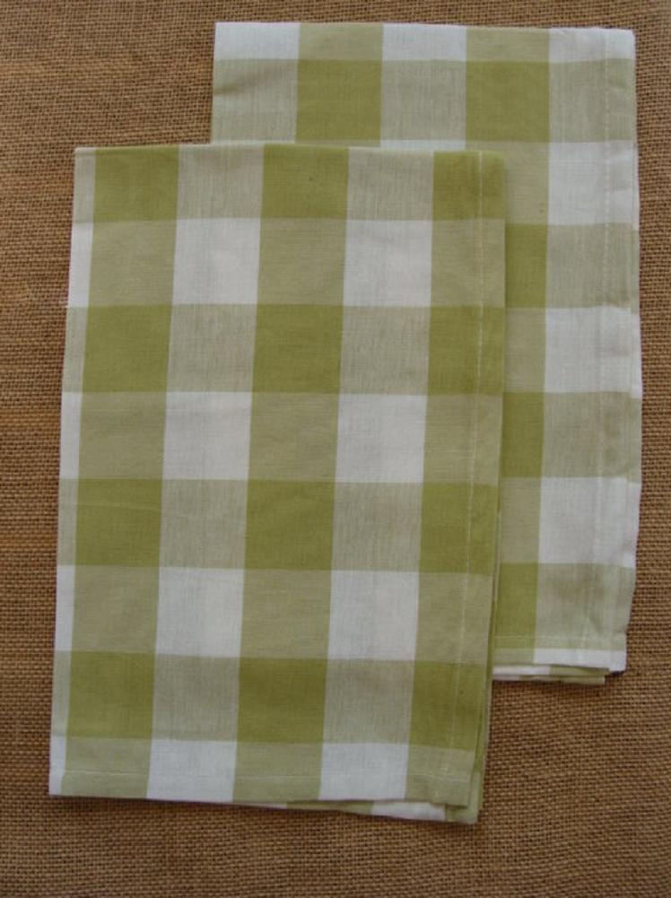 Set of 2 Park Designs WICKLOW Check Kitchen Towels - Aloe Gr