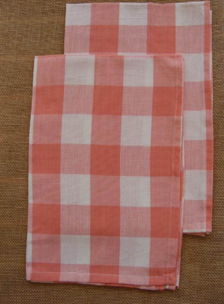 Set of 2 Park Designs WICKLOW Check Kitchen Towels - Coral a