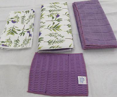 Smart Home Purple Blooms Kitchen Towel & Dry Mat - 8 Piece S