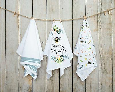 Sticky Toffee Cotton Flour Sack Kitchen Towels, Bee Prints,