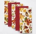 THE BIG ONE Leaf Orchard Print/Solid Kitchen Towels 5-Pack N