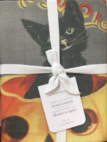 Williams-Sonoma Vintage Halloween Kitchen Towels Set/2 Cat