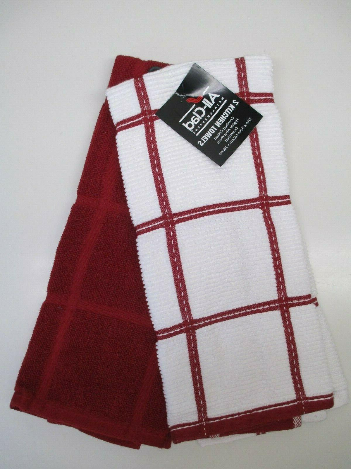all clad 2 oversized kitchen towels windowpane