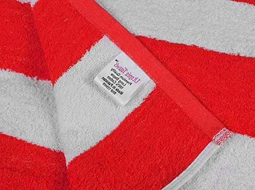 Utopia Towels Pool-Towel Cabana Stripe, 4-Pack, 100% Cotton, Easy Care, Maximum Softness and Absorbency