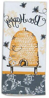 Bee Happy Yellow and Black Hive 28 Inch Kitchen Dish Tea Tow