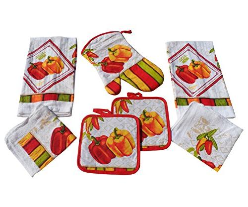 bell peppers kitchen towel set