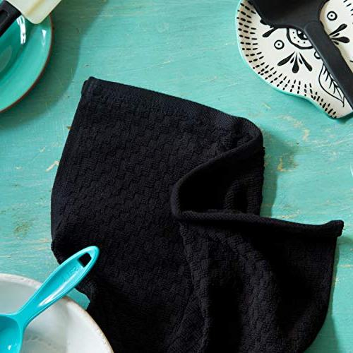 Pack Cafe Waffle Weave Terry Towels - 16x28 Inches -Black 400 Quality Ringspun 2 Cotton - Highly Low
