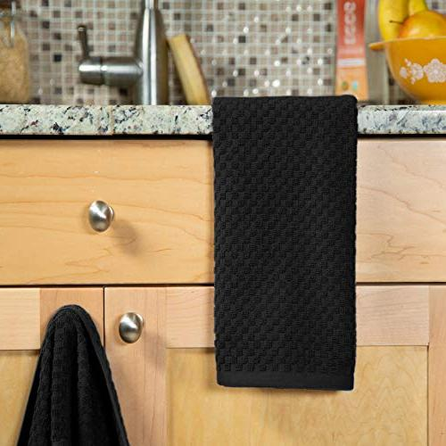 Cotton Pack Euro Waffle Towels -Black Quality - 100% Ringspun 2 Ply Cotton Highly Absorbent Low - Multi Purpose