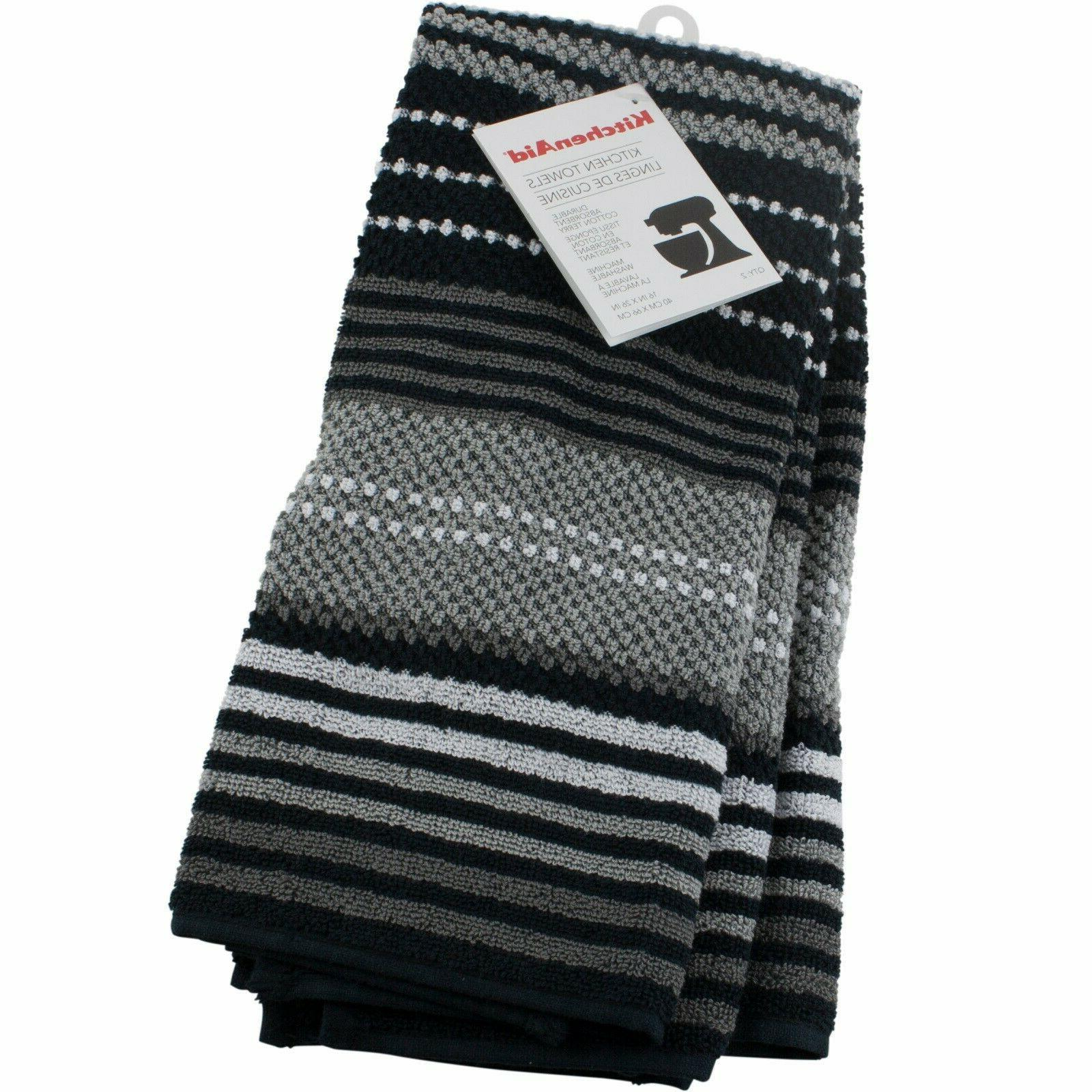 black kitchen towels 2 pack durable absorbent