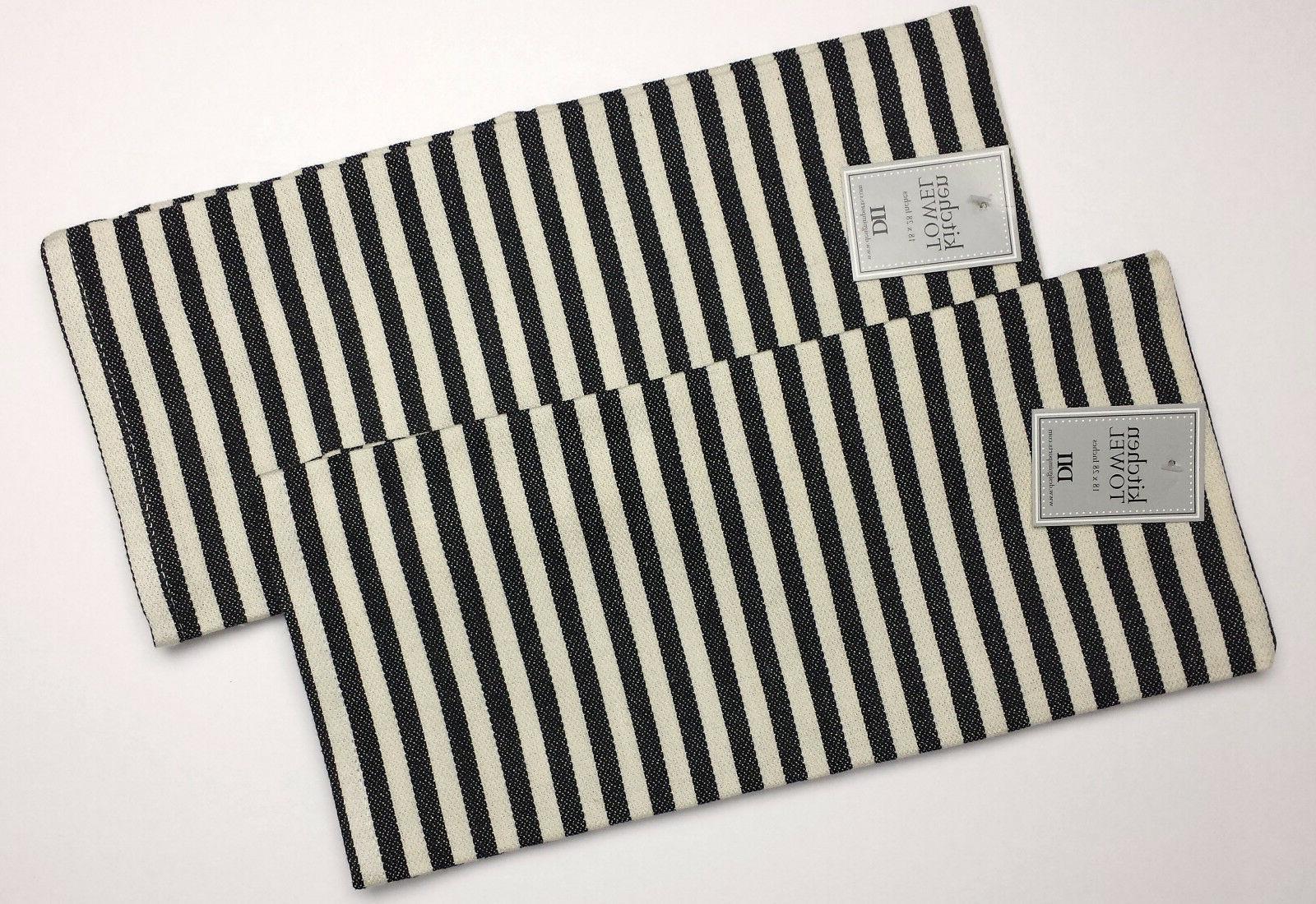 black petite stripe dish towels