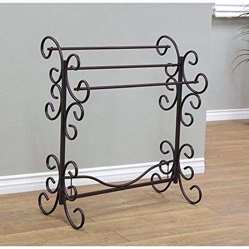 BLANKET RACK Metal Scroll Iron Towel Holder Quilt Black Vint