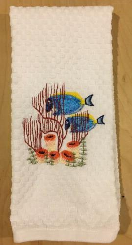blue fish coral ocean beach embroidered white