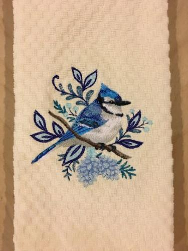 Blue Jay Bird Embroidered Ivory Kitchen Waffle Weave Dish Ha